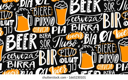 Beer text pattern on black board. Word beer in different languages. Italian birra, spanish cerveza, macedonian pivo, german bier. Chalk lettering seamless texture for pubs, menu and placemats.