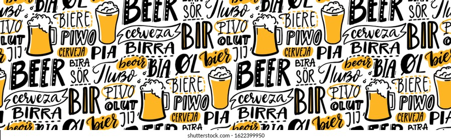 Beer text pattern. Word beer in different languages. Italian birra, spanish cerveza, macedonian pivo, german bier. Hand lettering seamless texture for pubs, menu and placemats