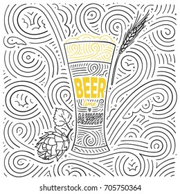Beer theme card design. The lettering - Beer Time Is Always. Handwritten swirl pattern. Vector illustration.