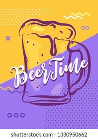 Its beer time. Hand lettering poster. llustration of beer glass.dea for beer festival