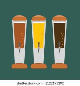 Beer tower tap flat design