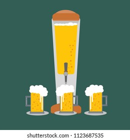 Beer Tower tap and Beer glass flat design