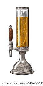 Beer tower with tap. Vintage vector engraving illustration for web, poster, invitation to party. Hand drawn design element isolated on white background.