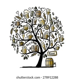 Beer tree, sketch for your design. Vector illustration