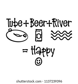 Beer + Tube + River = Happy.  For that float trip on the river!  Fun design for personal use on tshirts and such.  Use in home vinyl cutting machines.
