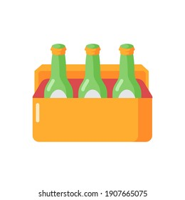 Beer vector flat color icon. Alcoholic beverage in cooler. Booze in package. Drinks sixpack. Party refreshments. Spirits in container. Cartoon style clip art for mobile app. Isolated RGB illustration