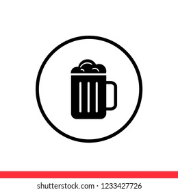 Beer vector icon, drink symbol. Simple, flat design for web or mobile app