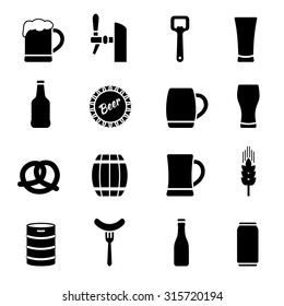 Beer vector icons set