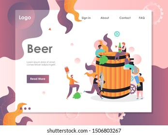 Beer vector website template, web page and landing page design for website and mobile site development. Craft brewery or pub, beer party.