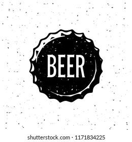 Beer Vintage Emblem For Poster, T-shirt print, Beer House, Brewing Company, Pub, Bar on The Bottle Cap. Vector Illustration