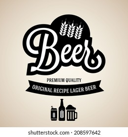 beer vintage logo with hop and barley on old paper
