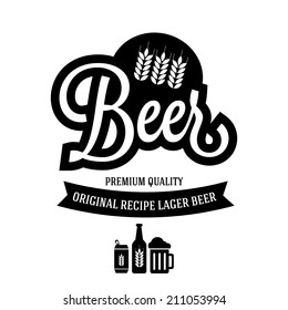beer vintage logo with hop and barley