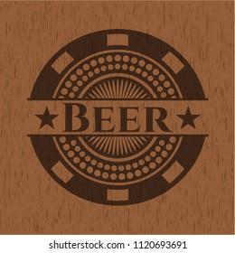 Beer vintage wooden emblem