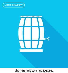 Beer or water keg vector icon on blue background with long shadow