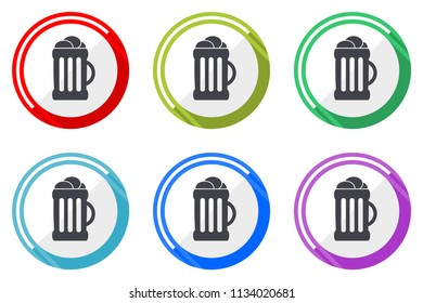 Beer web vector icons, set of colorful flat round design editable internet buttons in eps 10 for webdesign and smartphone applicatios