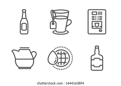 Beer, World water and Coffee vending icons simple set. Tea, Milk jug and Whiskey bottle signs. Pub alcohol, Aqua drop. Food and drink set. Line beer icon. Editable stroke. Vector