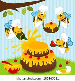 bees chefs prepare cake - vector illustration