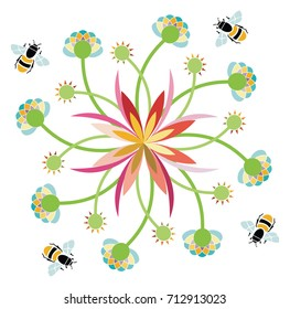 Bees in a Flower Garden