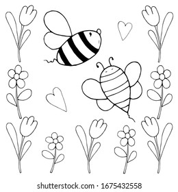 Bees and flowers kids vector illustration. Tulips, camomiles and two funny cartoon bumble bees. Spring, summer doodle set. Good for coloring, poster, wallpaper, textile, wrapping paper, book cover.
