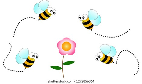 Bees fly to find flower