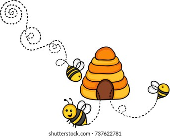 Bees fly out of a beehive
