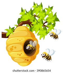 Bees flying around beehive illustration