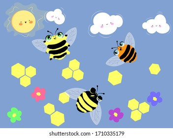 Bees flying around the flovers in a front of smiling sun and clouds. vector illustration.