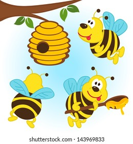 bees  flying around a hive  - vector illustration