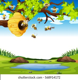 Bees flying in the garden illustration
