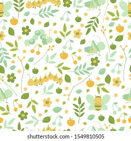 Bees and grasshoppers and  leaves seamless pattern in bright colors for kids design. Cartoon cute smiling animals repeat background for wallpaper and textile.  Vector illustration, cartoon