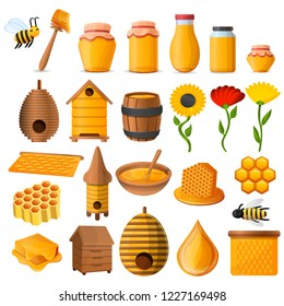 Bees honey jar icon set. Cartoon set of bees honey jar vector icons for web design