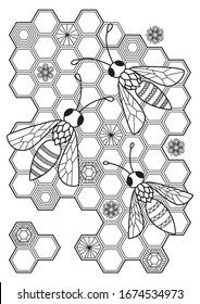 Coloring Page Bee High Res Stock Images Shutterstock