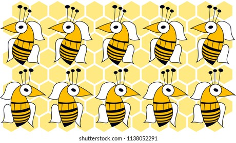 Bees and honeycombs. Wallpaper, gift wrapping paper, decorative paper, background for web, background for label, color and size in vector drawings.