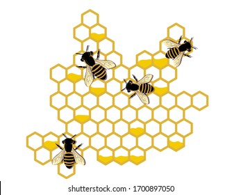 bees making honey and propolis. vector illustration. banner
