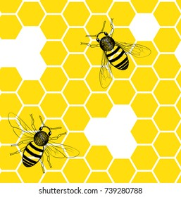 Bees on the honeycomb seamless pattern