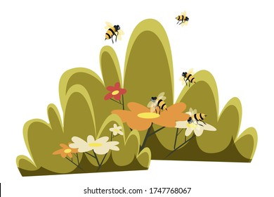 Bees pollinating flowers flat illustration. Garden blooming plants and insects flying isolated clipart on white background. Meadow wildflowers in grass and honeybees design element