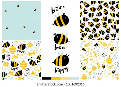 Bees seamless pattern set. Cartoon childish hand-drawn illustration with funny letters, words. Colorful doodle in a limited palette for printing baby fabrics, packaging, wallpapers