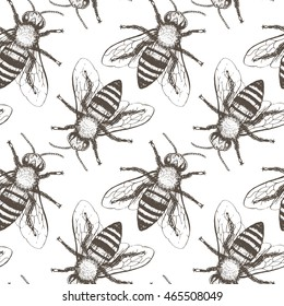 Bees seamless vector pattern. Hand drawn vintage graphic doodle design. Vector illustration. Endless background.