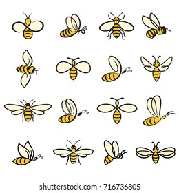 Bees. Set of bee for honey production. insect icons. Flying bee. vector illustration