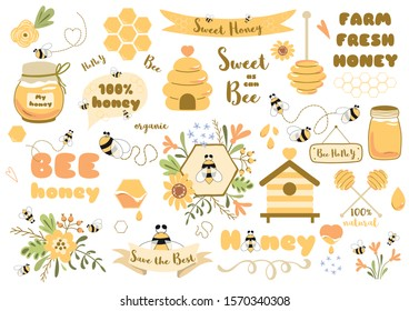 Bees set Cute honey clipart Hand drawn bee honey elements Hive honeycomb pot spoon beekeeping Text phrases in ribbon wreath Floral bee bouquet. Sticker tag icon logo Honey design Vector illustration.