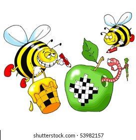Bees solve a crossword puzzle written on a green apple