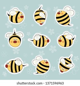 Bees stickers set. Funny colorful bees sticker for scrapbook. Bees label pack. Closeup. Different bee isolated.