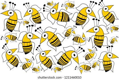 Bees. Wallpaper, gift wrapping paper, decorative paper, background for web, background for label, color and size in vector drawings.