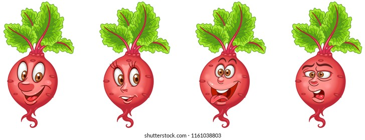 Beet. Beetroot. Healthy Food concept. Emoji Emoticon collection. Cartoon characters for kids coloring book, colouring pages, t-shirt print, icon, logo, label, patch, sticker.