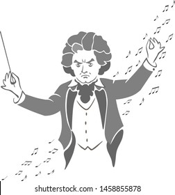 Beethoven conducts the orchestra performing the Symphony