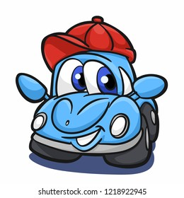 Beetle car - blue car - cartoon car Vector Illustration