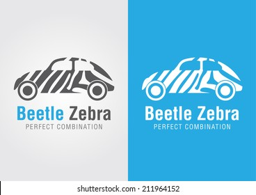 Beetle car with a zebra texture. Perfect Combination. Creative design.