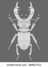 Beetle deer. Horned Beetle. Big. Insect. Line art. Drawing by hand. Graphic arts. Doodle. Tattoo.  Lucanus cervus. Ornamental.