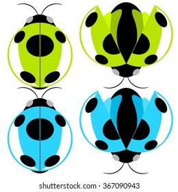 Beetle green and cyan fly cartoon illustration