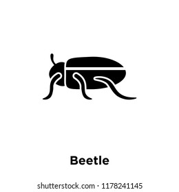 Beetle icon vector isolated on white background, logo concept of Beetle sign on transparent background, filled black symbol